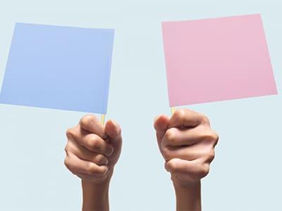 水色の旗とピンクの旗を持つ手
